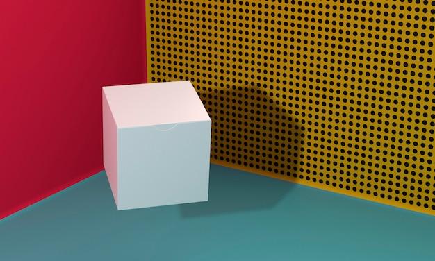 Scatola di cartone bianca dello spazio della copia con le ombre