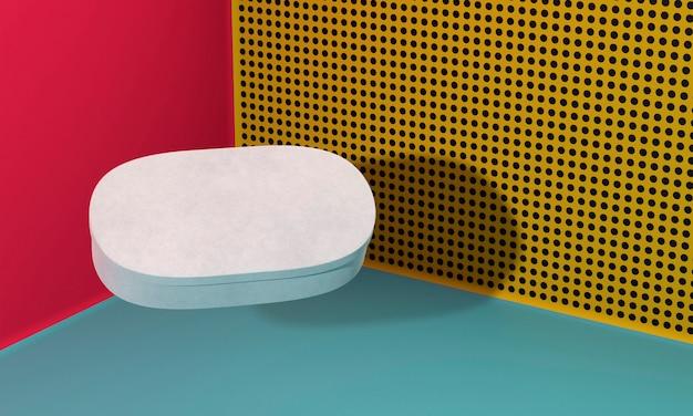 Scatola di cartone ovale dello spazio bianco della copia con le ombre