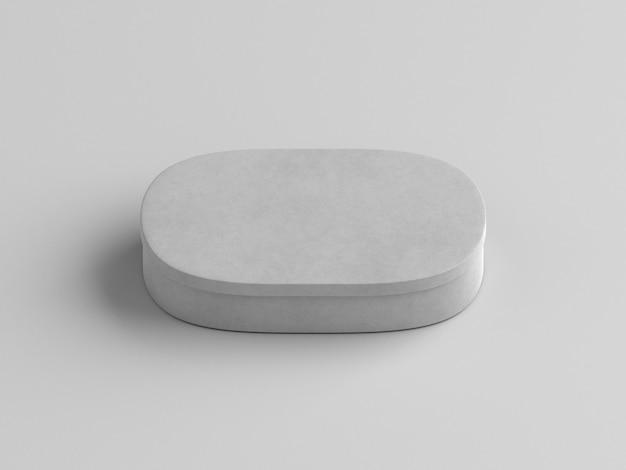 Scatola di cartone ovale spazio bianco copia