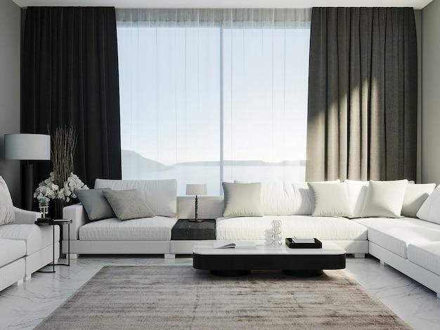 검은 커튼과 창문이 배경에 있는 고급스러운 거실의 흰색 코너 소파, 거실 조롱, 3d 렌더링