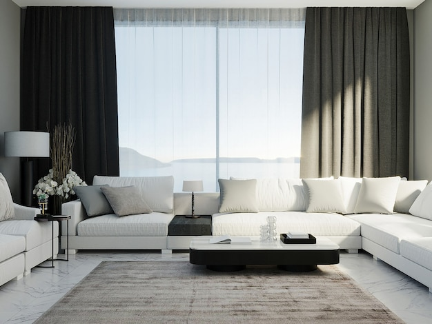 White corner sofa in luxury living guest room with black curtains and window on background, living room mock up, 3d rendering