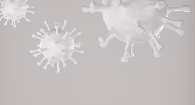 Белая клетка вируса короны на сером фоне. 3d рендеринг