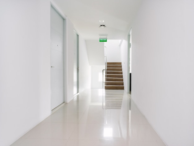 White corridor of modern building decoration in white