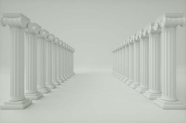 Белый коридор с острыми колоннами. 3d визуализация фона.