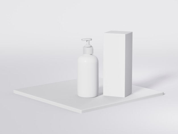 保湿剤と顔の液体製品のためのポンプディスペンサー蓋付きの白い化粧品ボトル。 3dテンプレート。化粧品包装のモックアップ。