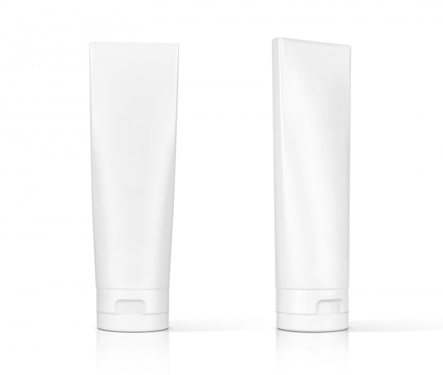 White cosmetic plastic tube isolated