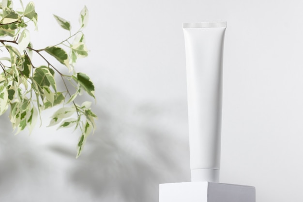 White cosmetic tube on a stand with leaves and shadows. toothpaste, face and body cream. female cosmetic tube with skin care product. organic cosmetics. copy space.