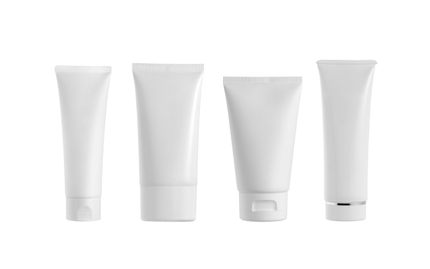 White cosmetic tubes isolated on white. blank label for branding mockup.