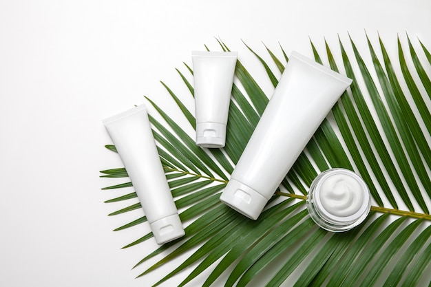 White cosmetic tubes and jar of face cream with palm leaf on white