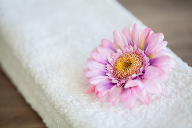 White cotton towels use in spa bathroom, towel concept