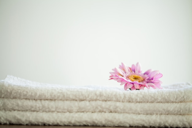 White cotton towels use in spa bathroom,