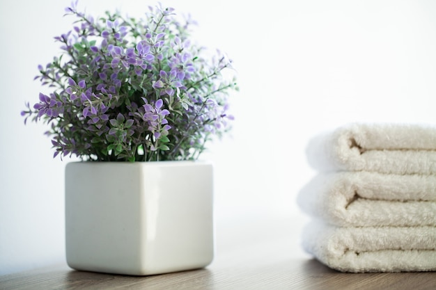 White cotton towels use in spa bathroom.