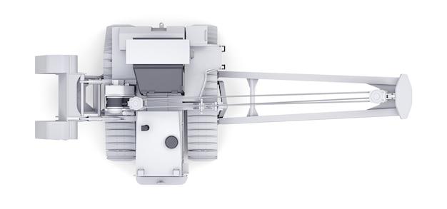 측면 붐이있는 흰색 크롤러 크레인. 3d 렌더링.