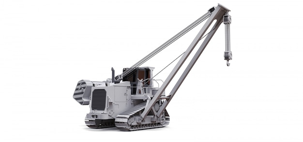 White crawler crane with side boom