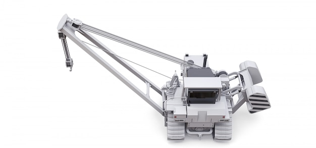 White crawler crane with side boom