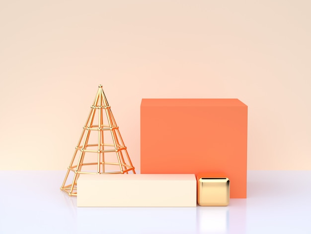 White cream scene 3d rendering orange