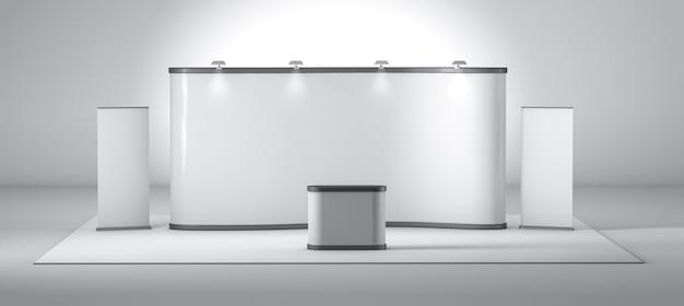 흰색 창조적 인 전시 스탠드 디자인. 부스 템플릿. 3d 렌더링