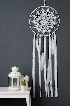 White crochet doily dream catcher