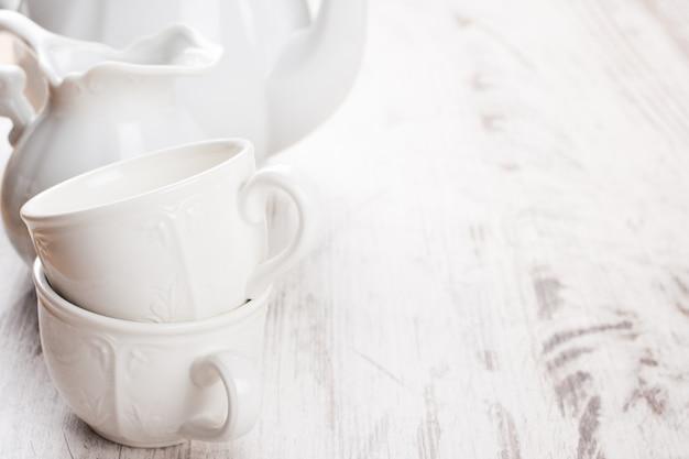 White crockery for tea