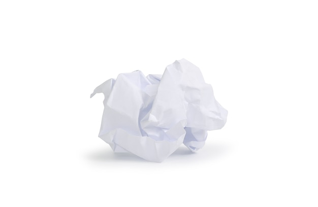 White crumpled paper isolated on white background. image with clipping path