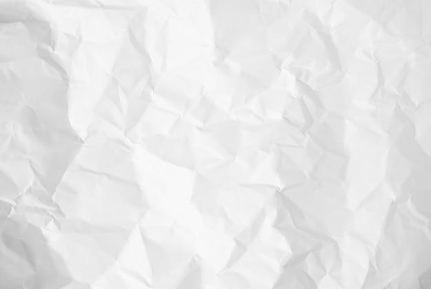 Белый фон текстуры мятой бумаги. чистая белая бумага. вид сверху.