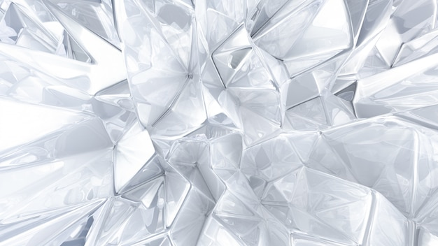 White crystal background with triangles. 3d rendering.