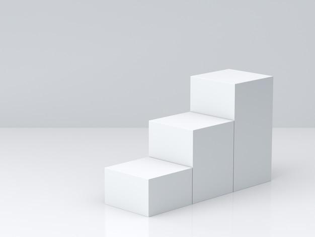 흰색 큐브 벽 디스플레이 흰색 빈 벽 배경으로 단계. 3d 렌더링.