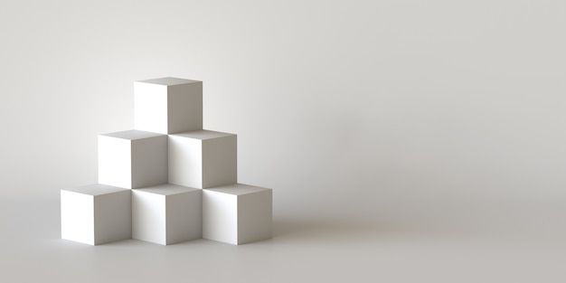 White cube boxes with white blank wall background