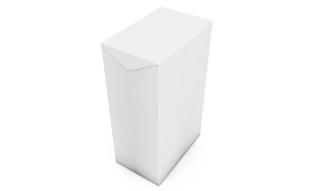 Белый куб на фоне студии стены. 3d рендеринг