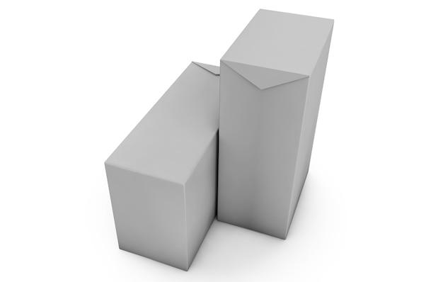 壁のスタジオの背景に白い立方体。 3dレンダリング
