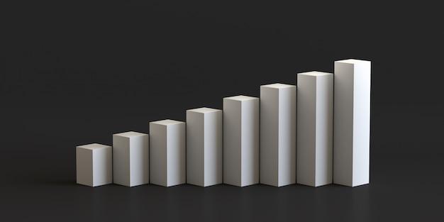 White cube podium step on blank wall background