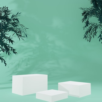 White cube product stand in green room with tree ,studio scene for product ,minimal design,3d rendering