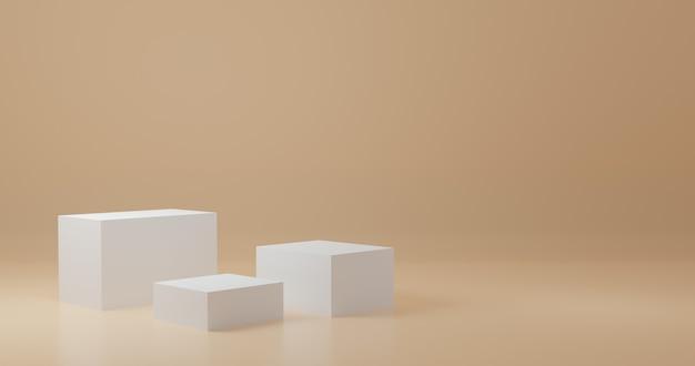 Стенд продукта белого куба в оранжевой комнате, студийная сцена для продукта, минималистичный дизайн, 3d-рендеринг