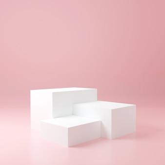 분홍색 방에있는 백색 입방체 제품 대, 제품을위한 스튜디오 장면, 최소한의 디자인, 3d 연출