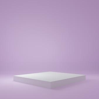 자주색 방에있는 백색 입방체 제품 대, 제품을위한 스튜디오 장면, 최소한의 디자인, 3d 연출