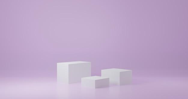 Стенд продукта белого куба в фиолетовой комнате, студийная сцена для продукта, минималистичный дизайн, 3d-рендеринг