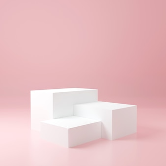 White cube product stand in pink room ,studio scene for product ,minimal design,3d rendering
