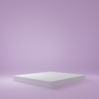 White cube product stand in purple room ,studio scene for product ,minimal design,3d rendering