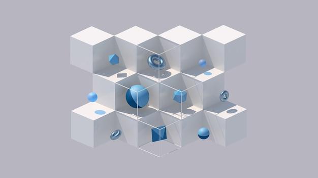 Белые кубики и синие фигуры. серый фон, жесткий свет. абстрактная иллюстрация, 3d визуализация.
