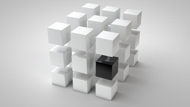 흰색 큐브와 검은 색 큐브 1 개