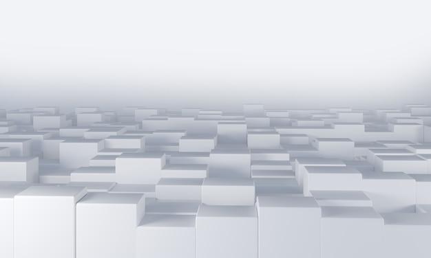 白い立方体が空間を完全に埋め、平面から不均一に突き出ています。3dレンダリング
