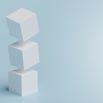 Белые кубики на синей комнате