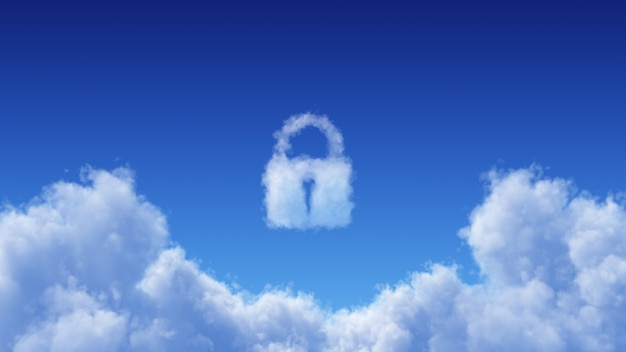 White cumulus cloud on blue sky background with lock shape above