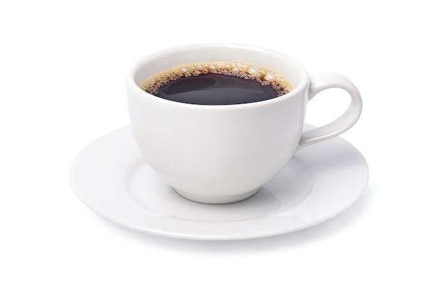 White cup of black coffee isolated on white background