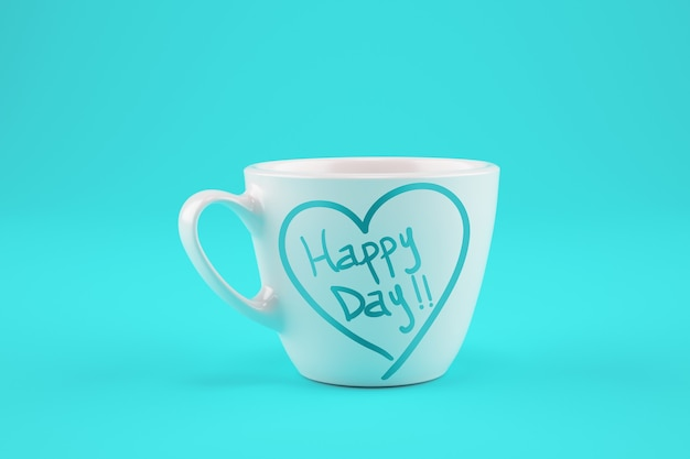 White cup of coffee on a cyan background with wishes for a happy day.