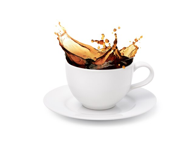 White cup of coffee splashing isolated on white background.