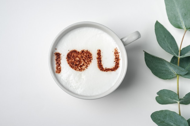 White cup of coffee with the inscription on the foam - i love you and branch with eucalyptus leaves