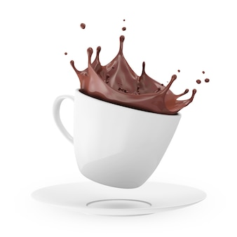 White cup of hot chocolate with crown splash isolated in 3d rendering