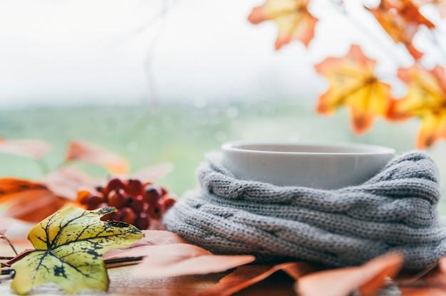 Белая чашка в вязаном шарфе с кленовыми листьями