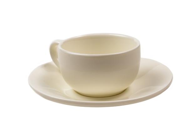 Белая чашка, изолированные на белом фоне. вид сверху.